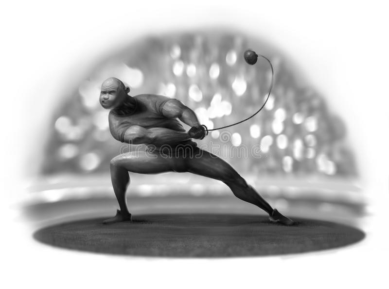 Hammer thrower stadium flashes photo viewers royalty free stock images