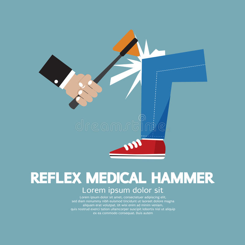 A Hammer To Testing Knee Reflex On A Patient vector illustration
