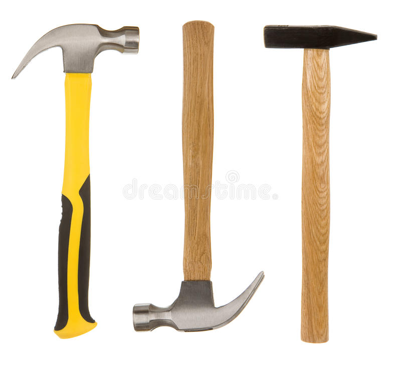 Download Hammer tool on white stock photo. Image of three, closeup - 24152934