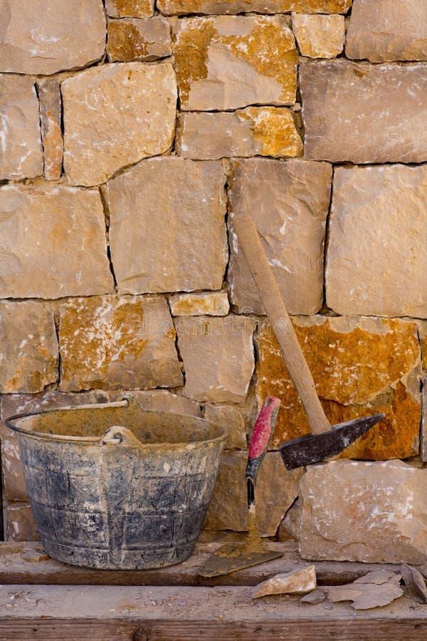 Hammer Tools Of Stonecutter Masonry Work Stock Photos