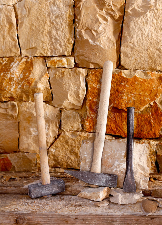 Download Hammer Tools Of Stonecutter Masonry Work Stock Image - Image: 28944839