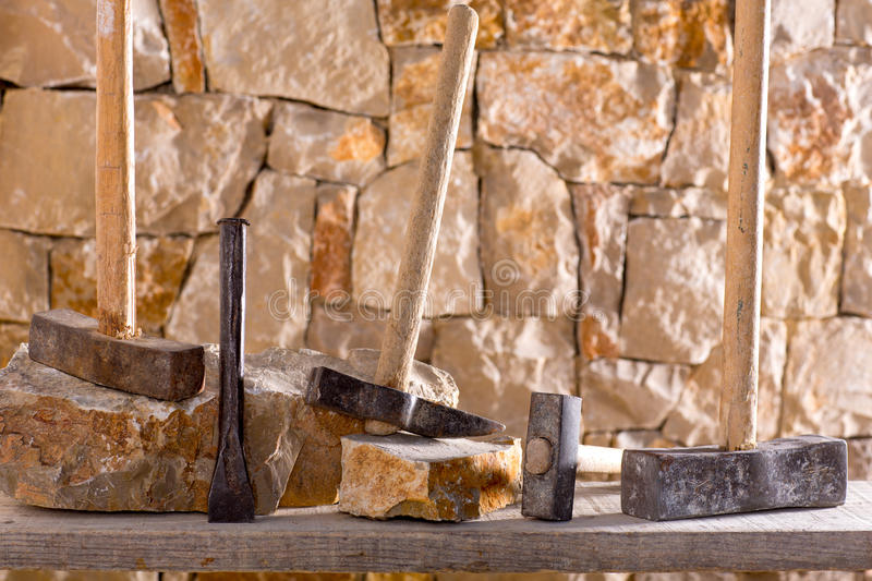 Download Hammer Tools Of Stonecutter Masonry Work Stock Image - Image: 28945003