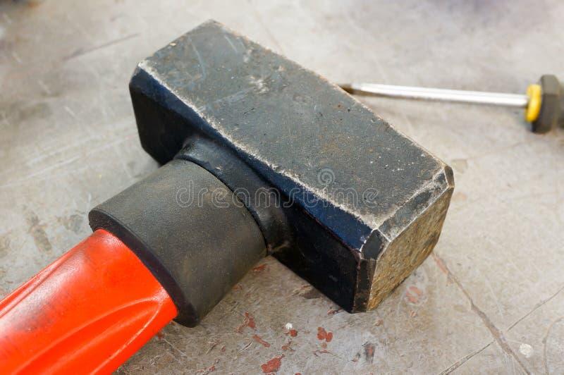 Hammer und Meißel stockbild
