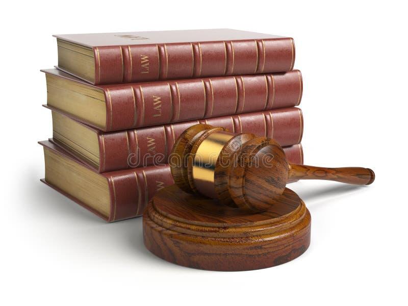 Hammer- und Rechtsanwaltbücher lokalisiert auf Weiß Gerechtigkeit, Gesetz und legales lizenzfreie abbildung