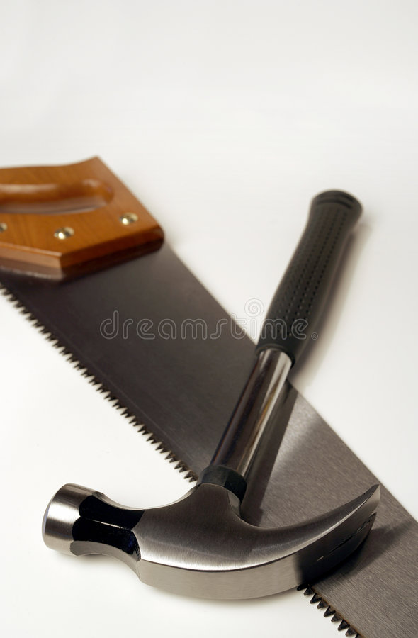 Hammer und Säge lizenzfreies stockbild
