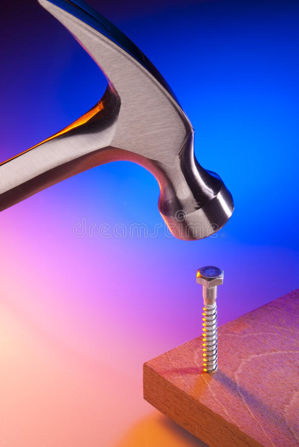 Hammer und Schraube stockfotos