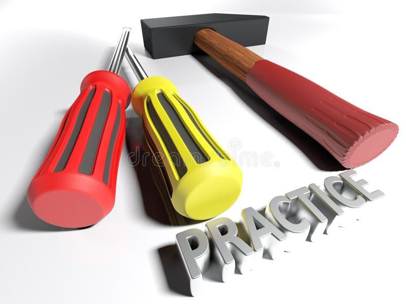 Hammer und Schraubenzieher für Praxis - Wiedergabe 3D stock abbildung