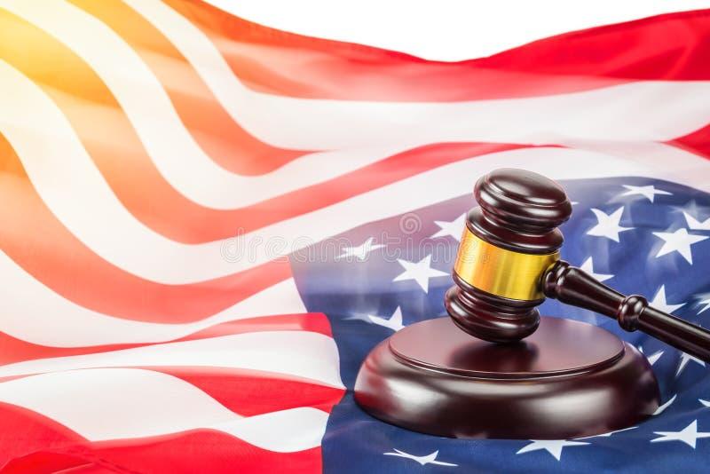 Hammer und USA-Markierungsfahne lizenzfreies stockfoto