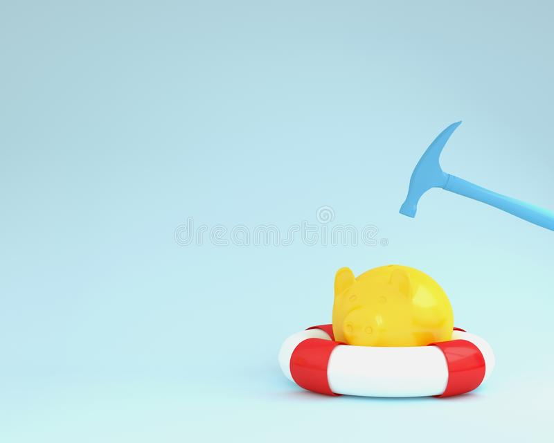 Hammer which is raised above a piggy banks yellow with blue pool. On blue pastel background. minimal business finance concept. Holidays In Economic stock illustration