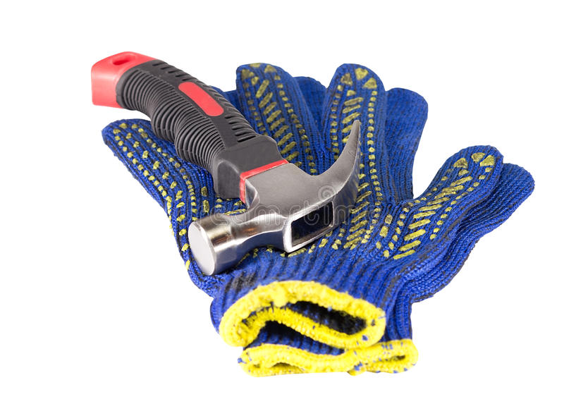 Hammer and work gloves royalty free stock images