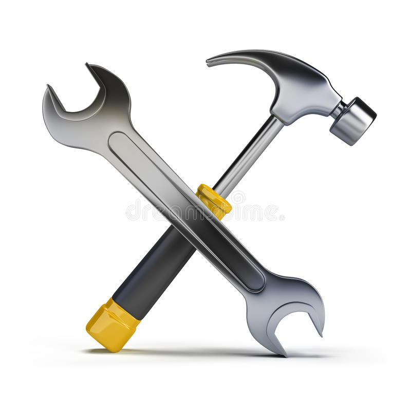 Download Hammer and wrench stock illustration. Illustration of work - 26810707