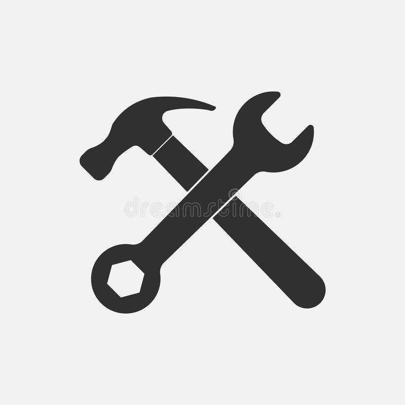 Hammer and wrench icon. Isolated on background. Vector illustration. Eps 10 royalty free illustration