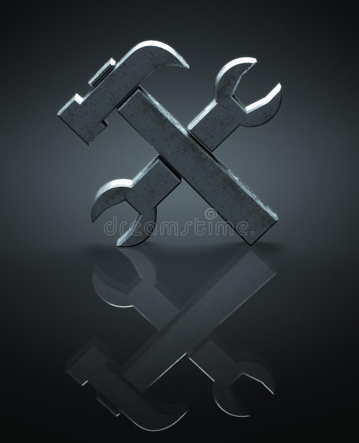 Hammer and wrench symbol. Tools concept - Hammer and wrench symbol vector illustration