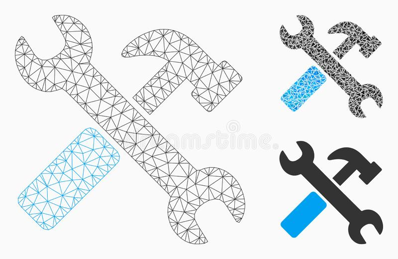 Hammer and Wrench Vector Mesh Carcass Model and Triangle Mosaic Icon. Mesh hammer and wrench model with triangle mosaic icon. Wire carcass triangular mesh of vector illustration
