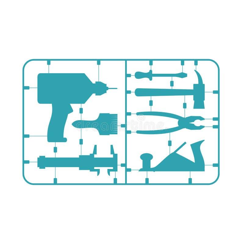 Hammer, Zangen, Schraubendreher, Schlüssel Vorbildliches Kit Bohrgerät und Hammer Tasterzirkel und plie lizenzfreie abbildung