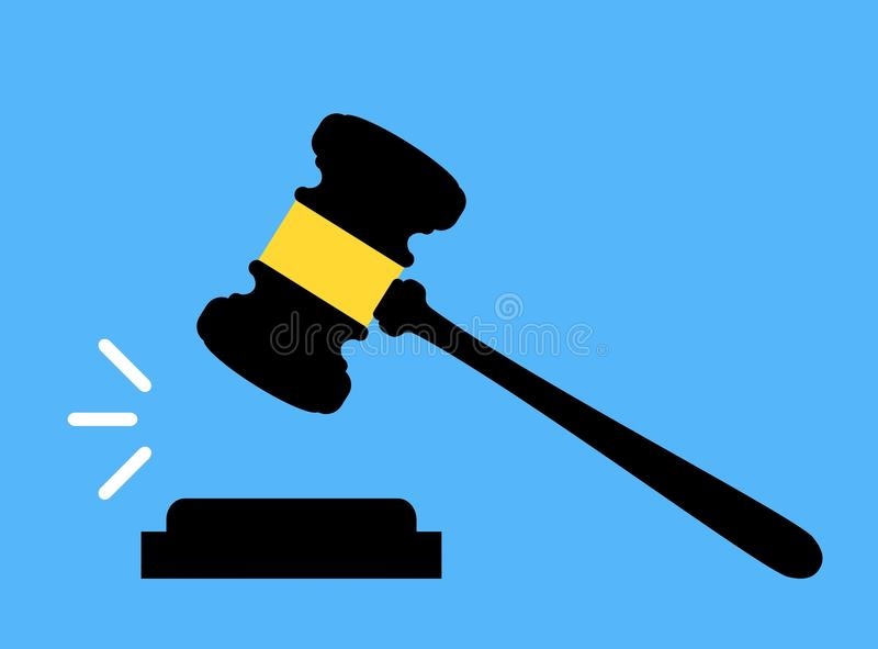 Hammerikone Gericht, Angebot, Urteil und Auktionskonzepte Beurteilen Sie Hammer E stock abbildung