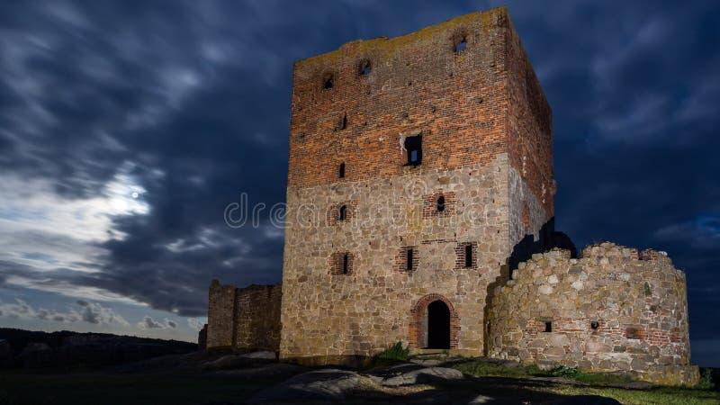 Hammershus castle ruin by night. On Bornholm in Denmark royalty free stock photo