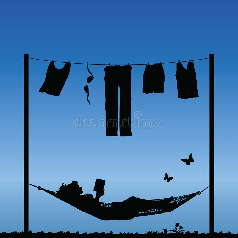 Hammock. Woman reading in a hammock after finishing the washing stock illustration