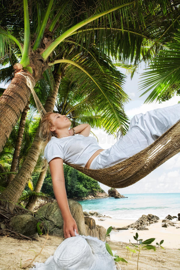 In hammock stock photo