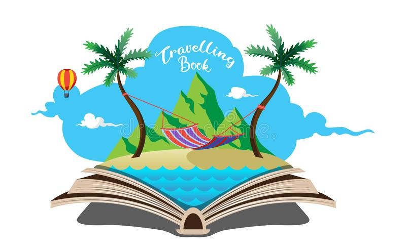Hammock on beach which is in open book travelling concept vector illustration