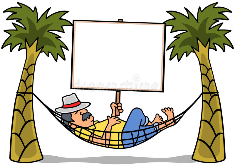 Hammock Man Sign. Man resting in a hammock holding a blank sign. Fill in copy: Break Time, Take a Trip, Gone Napping, etc