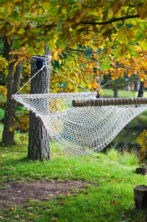 Download Hammock Near The Pond In Autumn Park Royalty Free Stock Image - Image: 27017566