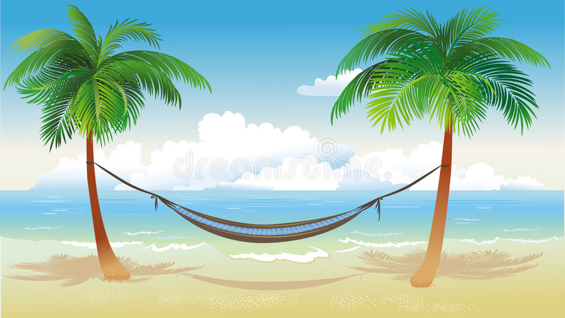 Download Hammock And Palm Trees On Beach Stock Vector - Image: 9239596