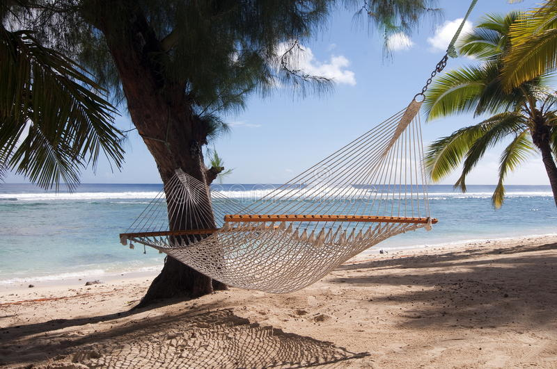 Hammock and Palm Trees on a Tropical Beach stock image