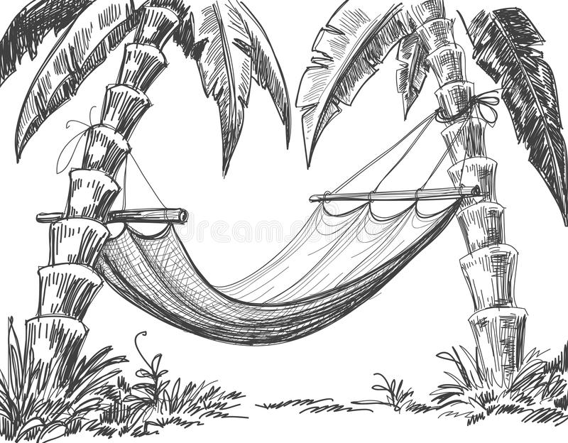 Download Hammock pencil drawing stock vector. Illustration of island - 23641709