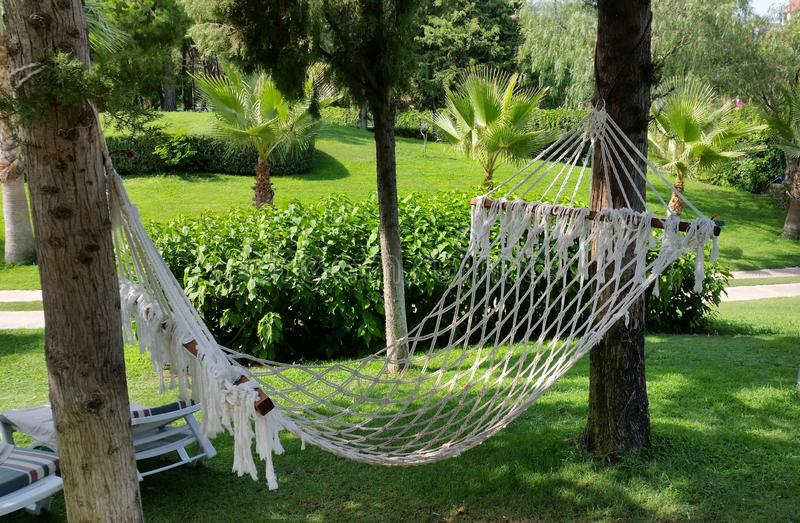 Hammock is a place of relaxation. royalty free stock photos