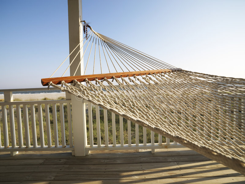 Hammock on porch. stock photography