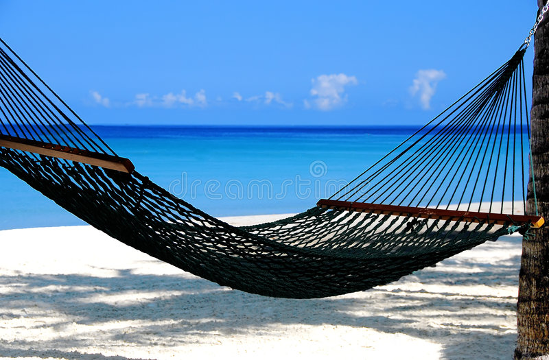 Hammock by the sea stock images