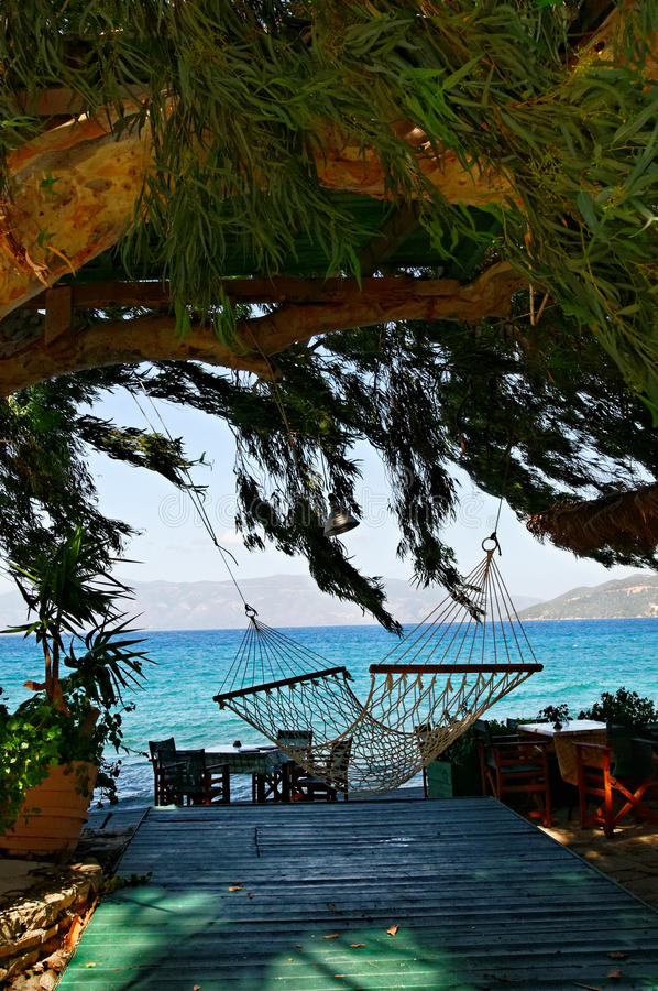 Hammock In Shade By The Sea Stock Photography