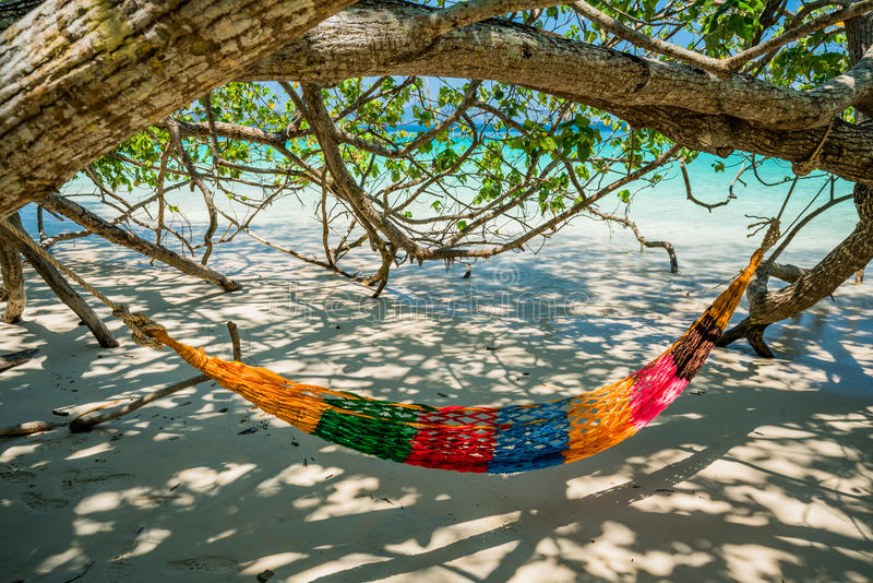 Hammock Tree Straps hang over the beach under shade day time wide shot background royalty free stock images