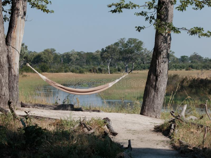 Hammock between trees in African landscape royalty free stock photos