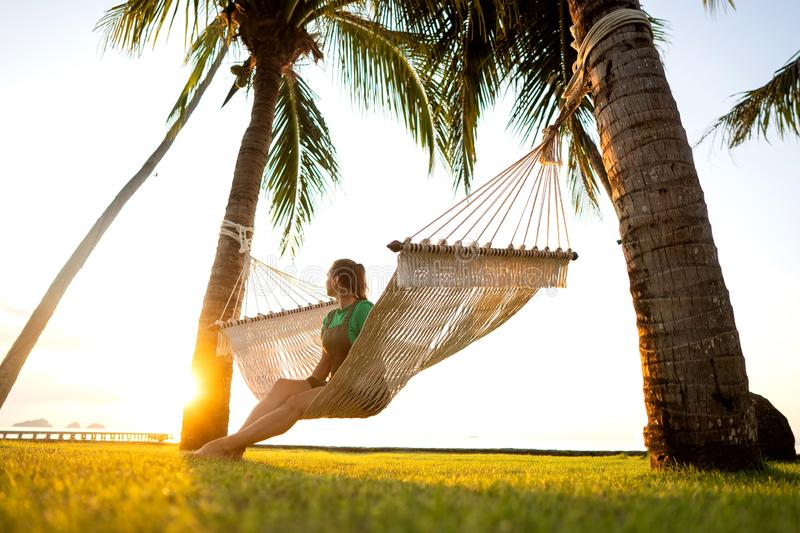 Hammock on tropical palm trees overlooking the mountains stock image