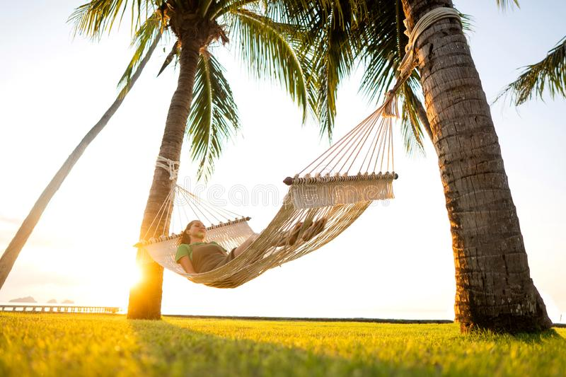 Hammock on tropical palm trees overlooking the mountains royalty free stock image