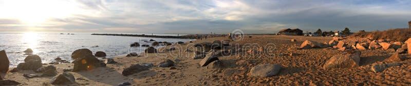 Hammonasset-Strand-Panorama lizenzfreie stockfotografie