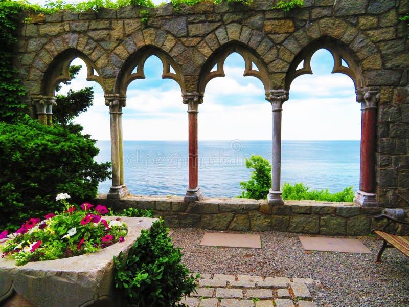 Hammond Castle Arcade royalty free stock photo