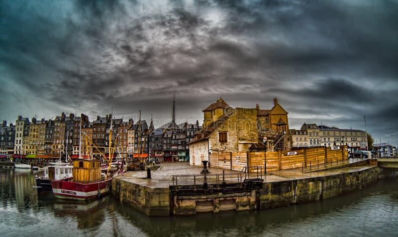 Hamn av Honfleur, Frankrike fotografering för bildbyråer