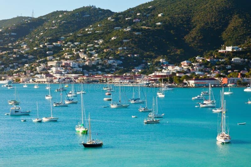 Hamn av St. Thomas, US Virgin Islands arkivfoto