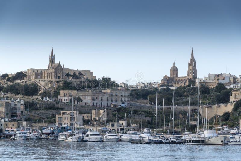Hamn Gozo för MÄ-¡ arr från sen royaltyfria bilder
