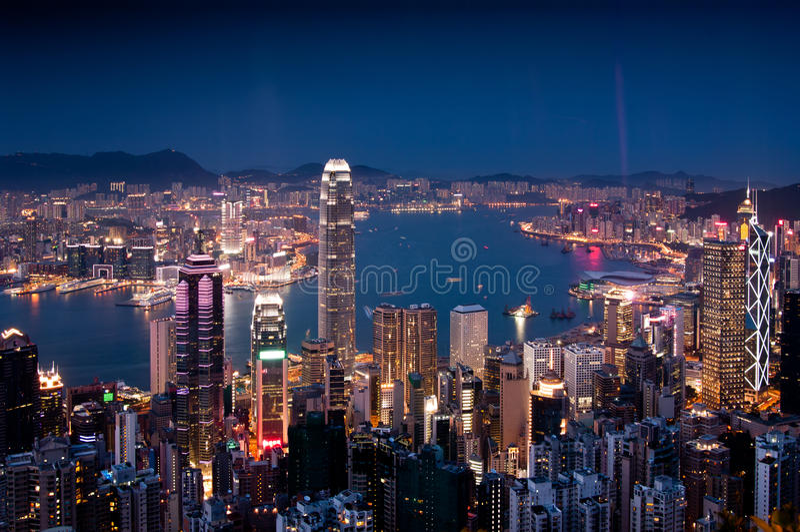 hamn Hong Kong victoria royaltyfri fotografi