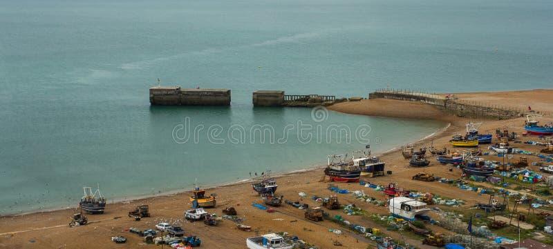 Hamn i Hastings, UK royaltyfria bilder