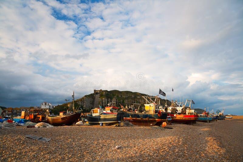 Hamn i Hastings, UK fotografering för bildbyråer