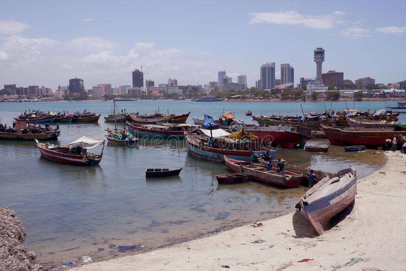 Hamn på dar es-salaam, Tanzania arkivbild