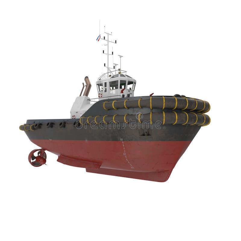 Hamn Tug Boat på vit illustration 3d royaltyfri illustrationer