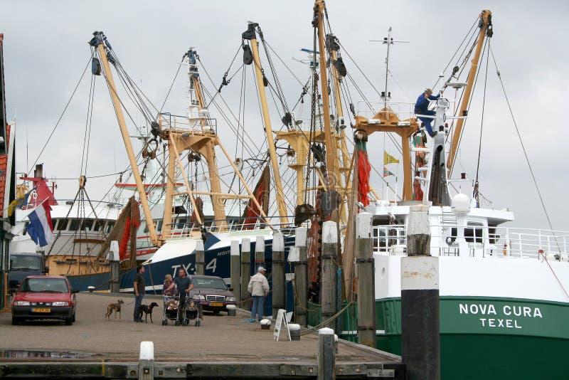 Hamnen av Texel i Oudenschild arkivfoto
