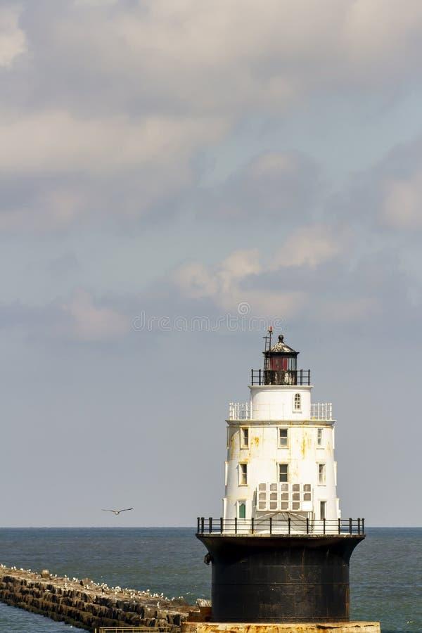 Hamnen i Refuge fyr och havsvatten royaltyfria bilder