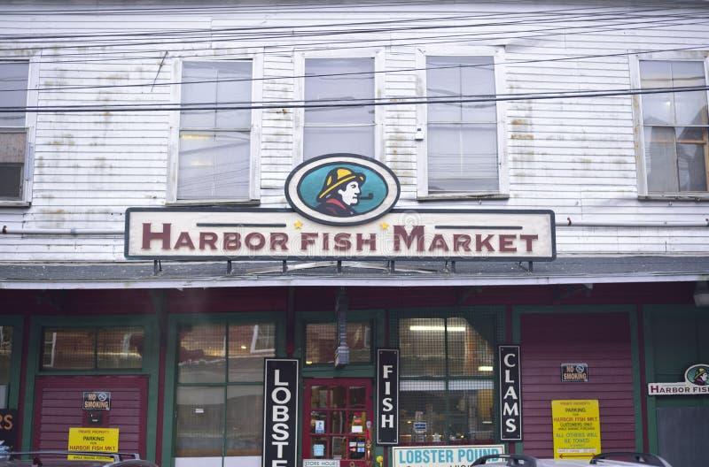 Hamnfiskmarknad Portland Maine royaltyfria bilder